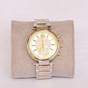 NWT Micheal Kors Sawyer gold Silver Women's watch